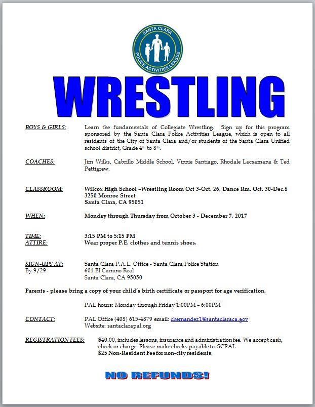 Fall Wrestling Program – Santa Clara Police Activities League